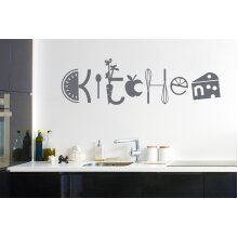 Assorted Kitchen Sign Wall Stickers Art Decals - Large (Height 38cm x Width 130cm) Grey