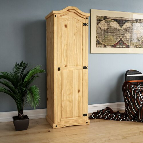 Corona 1 Door Wardrobe Clothes Storage Bedroom Furniture Solid Pine