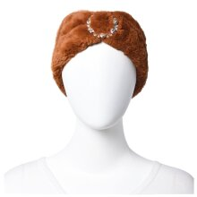 100% Polyester Bowknot Design Faux Fur Womens Girls Headband Size 10x55 cm Brown/Black/Red/Purple