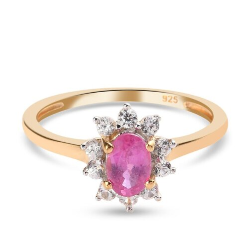 TJC Ruby Halo Ring Gold Plated Silver Anniversary Gift White Zircon 0.97ct