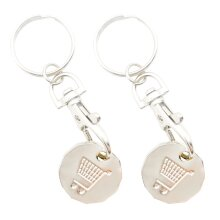 2pk Trolly Coin Keyring Set   Stainless Steel Key and Trolley