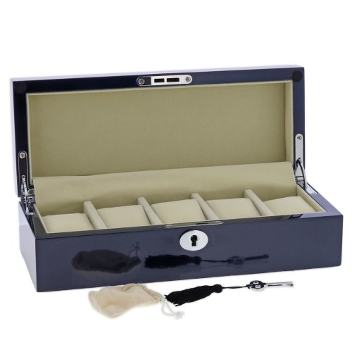 Blue Maple Wood Watch Collector Box with Chrome fittings for 5 watches by Aevitas