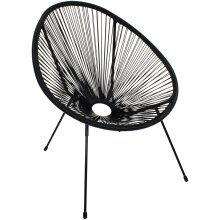 Modern and Funky Design Garden Rattan String Moon Chairs Indoor/Outdoor Furniture Use - Black