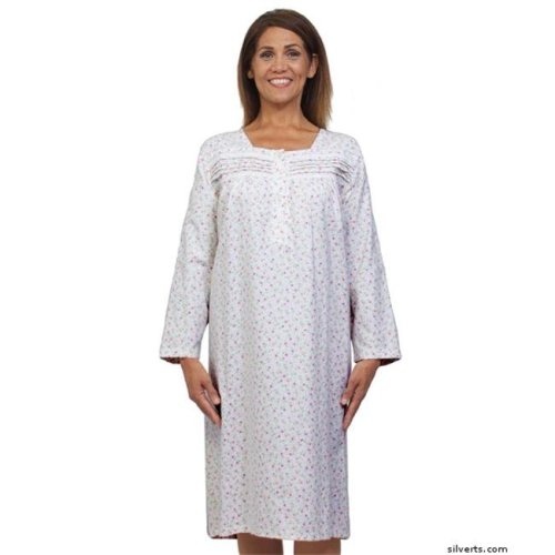 Silverts 263010101 Womens Pretty Flannel Long Sleeve Open Back Patient Gowns, Pink Rose - 2XL