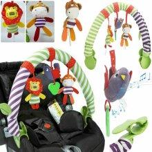 Baby Pushchair Pram Travel Stroller Hanging Toy Rattle Squeak Teether
