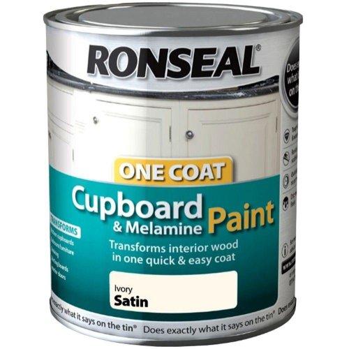Ronseal One Coat Cupboard Melamine & MDF Paint 750ml - SATIN Ivory