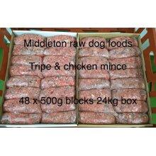 Frozen Minced Green Tripe & chicken 48x500g bags/blocks 24KG BOX