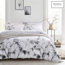 Bianca Kyoto Cotton Print Double Quiltset White/Grey