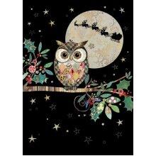 Bug Art Blank Christmas Jewels Design Christmas Cards - Christmas Owl