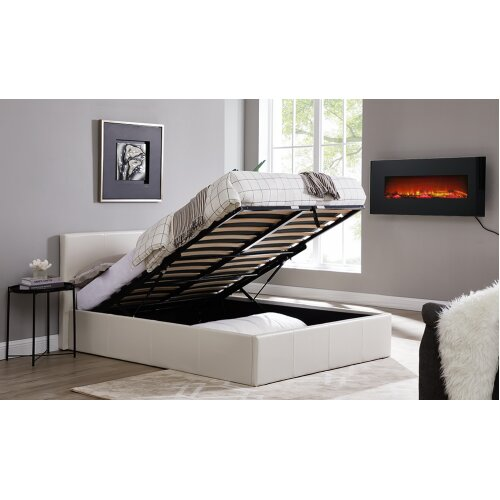 Caspian Ottoman Bed - Alligator Gas Lift Up Storage - White - 4FT6 Double