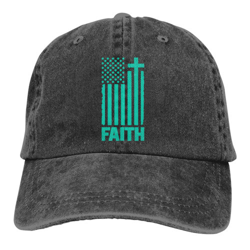 Distressed Teal USA Flag Denim Baseball Caps