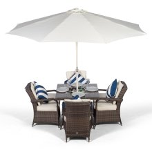 Arizona 90cm Square 4 Seater Rattan Dining Set with Drinks Cooler - Brown