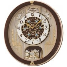 Seiko 18-Melodies Melody in Motion Clock - Brown and White (QXM291B)
