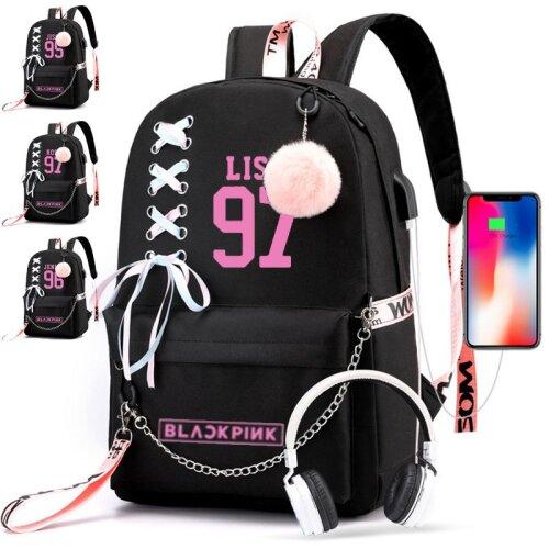 KPOP BlackPink Girl's Backpack USB Laptop Bags