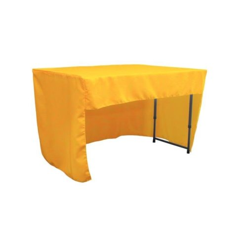 LA Linen TCpop-OB-fit-48x24x30-YellowDrkP47 1.42 lbs Open Back Polyester Poplin Fitted Tablecloth, Dark Yellow