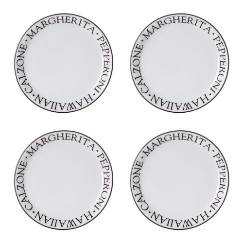Noir Pizza Plates, Set of 4, Porcelain, White