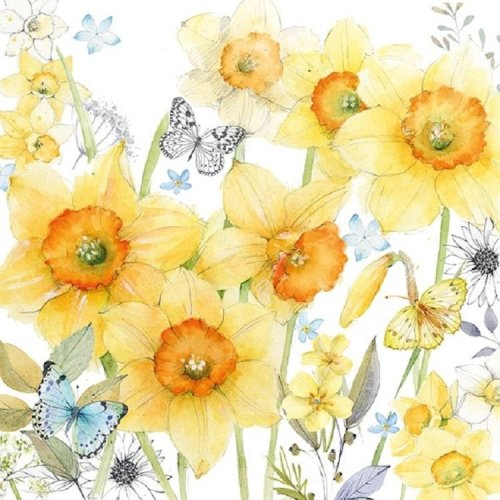4 x Paper Napkins - Classic Daffodils - Ideal for Decoupage / Napkin Art