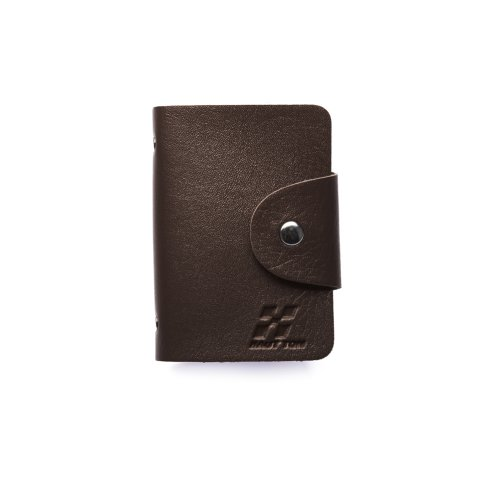 Woodland Leathers Hautton Black 24 Credit Card Wallet With Stud Front
