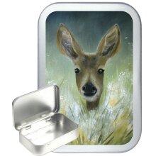 Deer Art 50ml Silver Hinged Tobacco Tin, Gift Tin