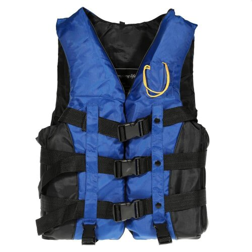 (Blue, L) Adult Swimming Boating Drifting Safety Life Jacket Vest with Whistle L-2XL