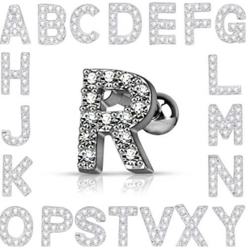 """J, 16GA (1.2mm), 1/4"""" (6mm), Crystal Encrusted Alphabet Letter Ball End Surgical Steel Tragus Cartilage Conch Universal Barbell Bar Earring"""