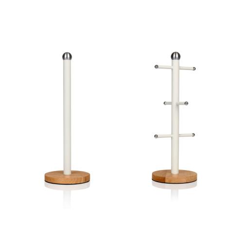 Swan Nordic Mug Tree & Towel Pole in White Kitchen Storage Kitchen Roll Holder