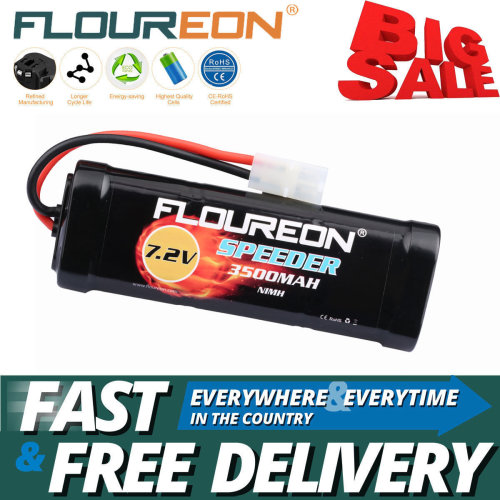 Floureon 7.2V 3500mAh Ni-MH Battery w/ Female-tamiya Plug for RC Car