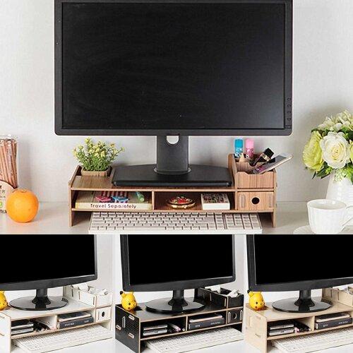 Multi-function Desktop Monitor Stand, Computer Screen Riser Wood Shelf Plinth Strong Desk Holder For Notebook/TV