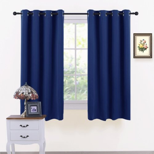 PONY DANCE Eyelet Blackout Curtains - Thermal Insulated Top Ring Kitchen Short Curtain Drapes for Bedroom/Room Darkening & Energy Saving, Set of 2,...