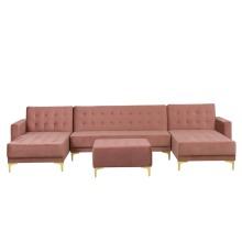5 Seater U-Shaped Modular Velvet Sofa with Ottoman Pink ABERDEEN
