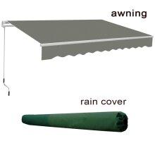 4x3m Garden Patio Manual Sun Shade Shelter Retractable Canopy -  Grey