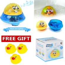 Bath Toys, 2 in 1 Induction Spray Water Toy & Space UFO Car Toys with LED Light Musical