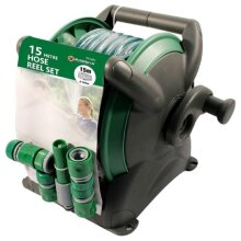 15M GARDEN HOSE PIPE & COMPACT REEL FITTINGS SET STANDING WALL MOUNTED