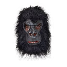 Gorilla Overhead Mask With Black Hair -  gorilla mask fancy dress costume ape black halloween deluxe king kong monkey animal head rubber masks party