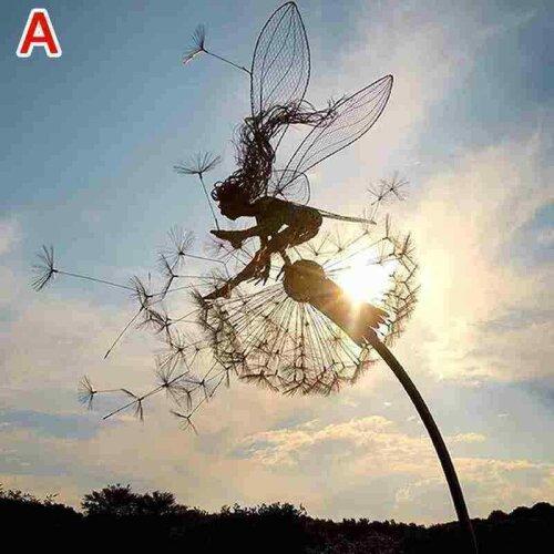 (Dandelion A) Dancing Fairy Dandelion Statue Ornament Stakes