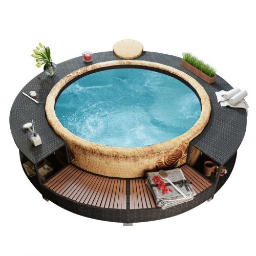 vidaXL Black Poly-Rattan Spa Surround | Rattan Hot Tub Surround