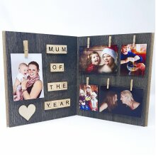 Mum Of The Year Scrabble Tile Art Personalized Photo Wooden Frame