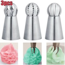 3pcs/set Sphere Ball Tips Russian Icing Piping Nozzles Tips Pastry Cupcake