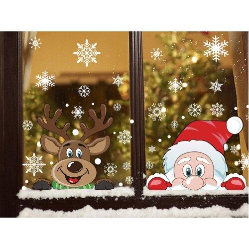 VEYLIN Christmas Window Stickers, 6 Sheet Peeping Santa & Rudolph Snowflakes Window Clings PVC Staic Stickers for Christmas Window Display