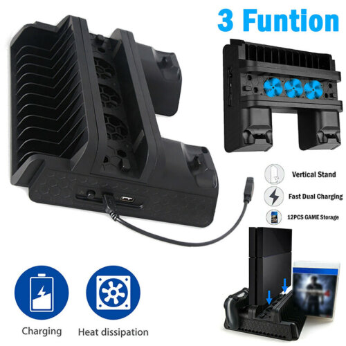 Vertical Charger Stand w/ 3 Cooling Fan Game Storage for PS4/Pro/Slim Controller