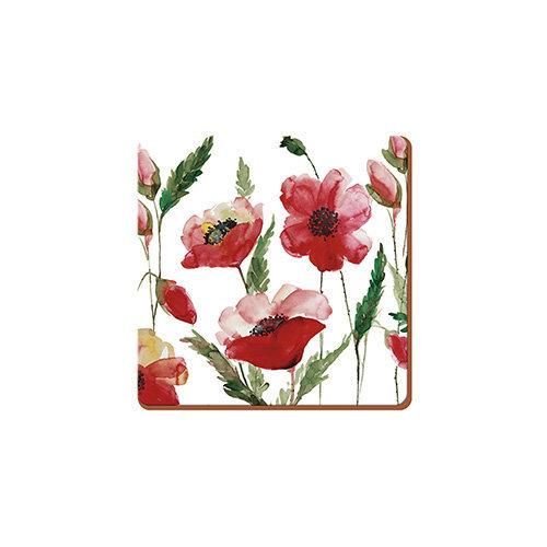 Creative Tops Watercolour Poppy Pack Of 6 Premium Coasters