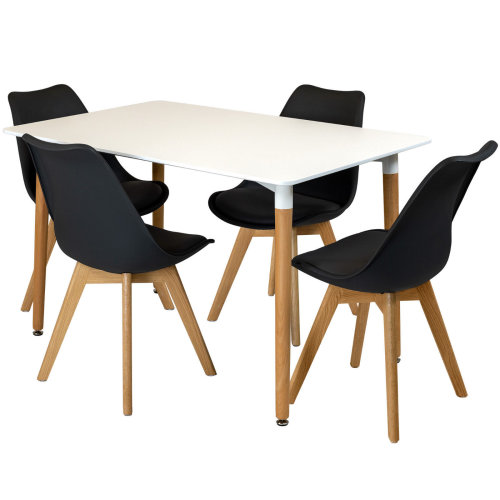 (Black) Rectangular Dining Table Set Four 4 Dinner Kitchen Chairs White Solid Beech Wood