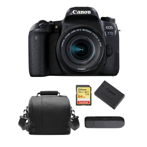 CANON 77D EF-S 18-55mm F4-5.6 IS STM+64G card+Bag+Battery+Card Reader