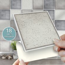 18 GREY SPECKLE MIX Solid Stick On Self Adhesive Wall Tile Sticker 4x4