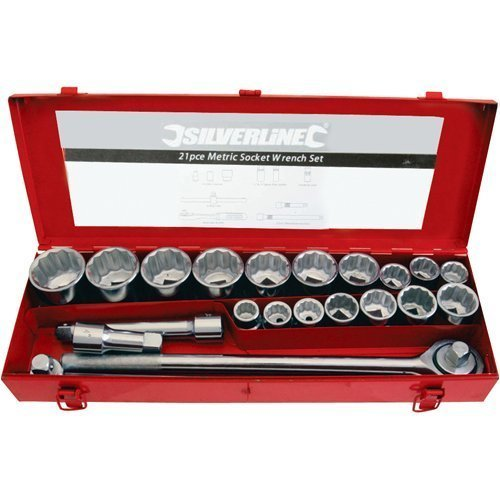 "Silverline Socket Set 3/4"" Drive Metric 21pce 21pce - 34 633663 -  21pce set socket 34 drive metric silverline 633663"