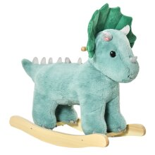 HOMCOM Kids Plush Ride-On Rocking Horse Triceratops-shaped Toy for 36-72 Months