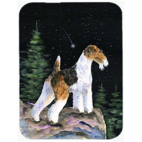 12 x 15 in. Starry Night Fox Terrier Glass Cutting Board, Large