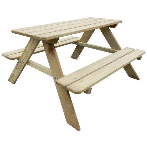 vidaXL Kid's Picnic Table 89x89.6x50.8cm Pinewood Outdoor Garden Bench Seat