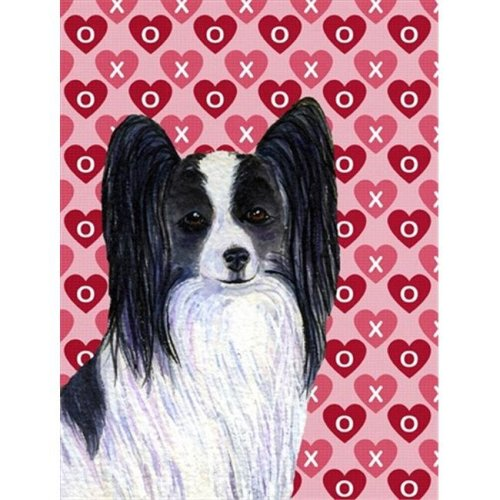 11 x 15 In. Papillon Hearts Love And Valentines Day Portrait Flag, Garden Size