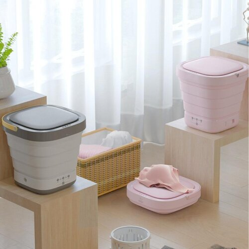 2 in 1 Mini Clothes Washing Machine & Bucket Automatic, Underwear Foldable Washer